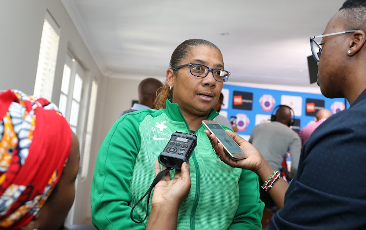 Banyana Banyana coach Desiree Ellis speaks to reporters following 2018 Cosafa Women's Championship draw at Cosafa House in Parktown, north of Johannesburg, on August 29 2018.