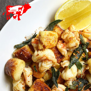 Pan Fried Gnocchi & Prawns