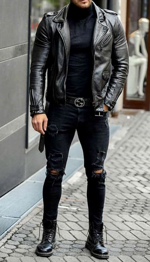 Man wearing a rugged leather jacket
