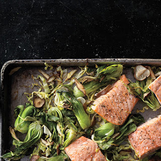 Wasabi Salmon with Bok Choy, Green Cabbage, and Shiitakes.