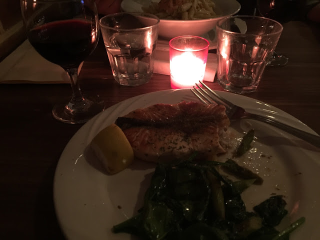 Grilled salmon with spinach and asparagus. Great entree!
