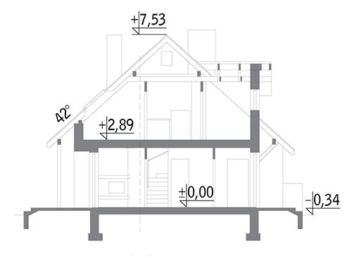 Dom na rozstaju - wariant III (bliźniak) - BCC214c - Przekrój