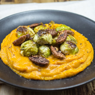 Sweet Potato Mash With Maple-Pecans and Brussels Sprouts [Vegan]