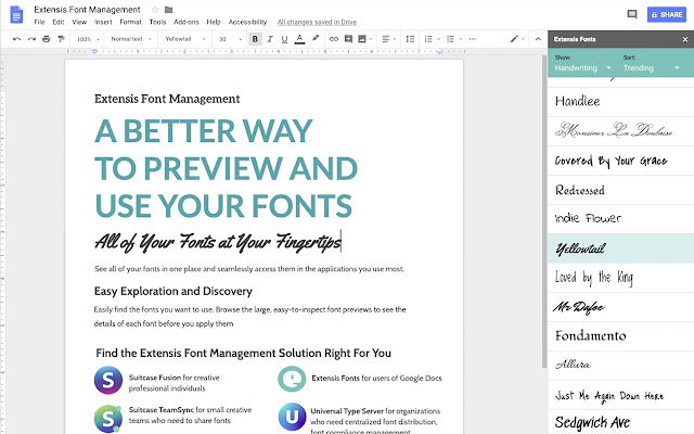 Extensis Fonts - Google Docs add-on