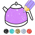 Kitchen Coloring Book With Animation - Glitter icon