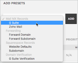 G Suite is selected under Mail MX Records in the Add Presets drop-down list.