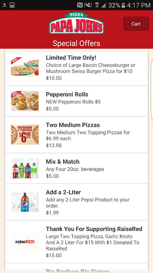 Papa John's Pizza- screenshot