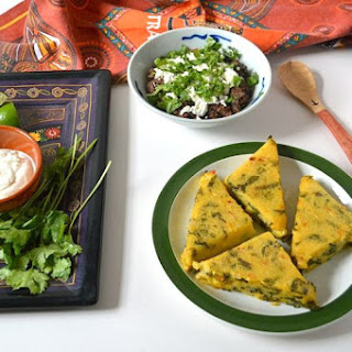 Corn Spinach Polenta Triangles, Refried Beans & Mexican Salsa.