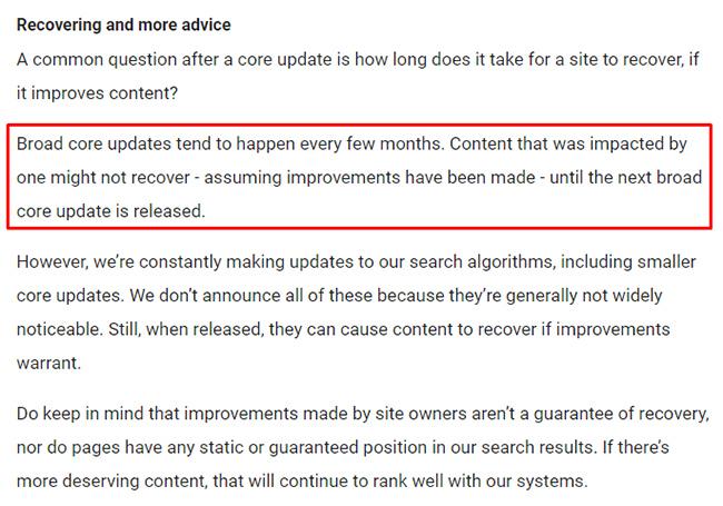 цитата google про сроки возможного восстановления сайта в выдаче после обновлений