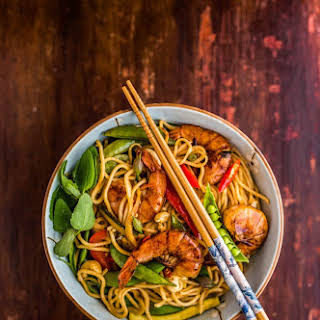 Grilled Shrimp Noodle Stir-fry.