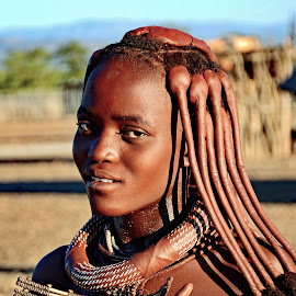 Young Himba Tribal Girl  by Doug Hilson - People Portraits of Women