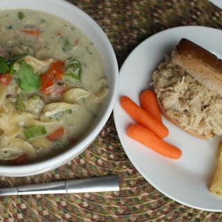 Leftover Shredded Chicken Sandwich Noodle Soup.