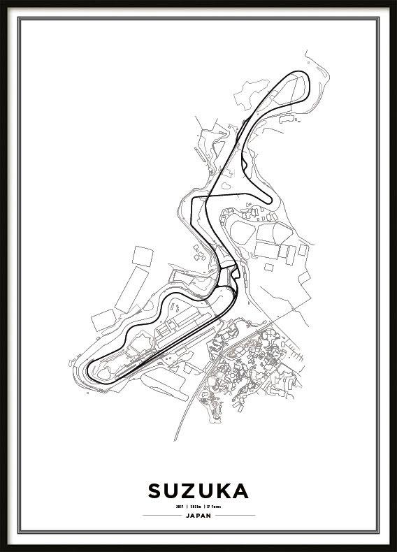 Poster, Suzuka International Racing Course F1 Print vit