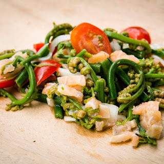 Fiddlehead Fern and Cured Salmon Salad.