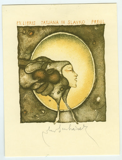 081. Bookplate. TATJANA IN SLAVKO PREGL. Head of a muse in an oval.
