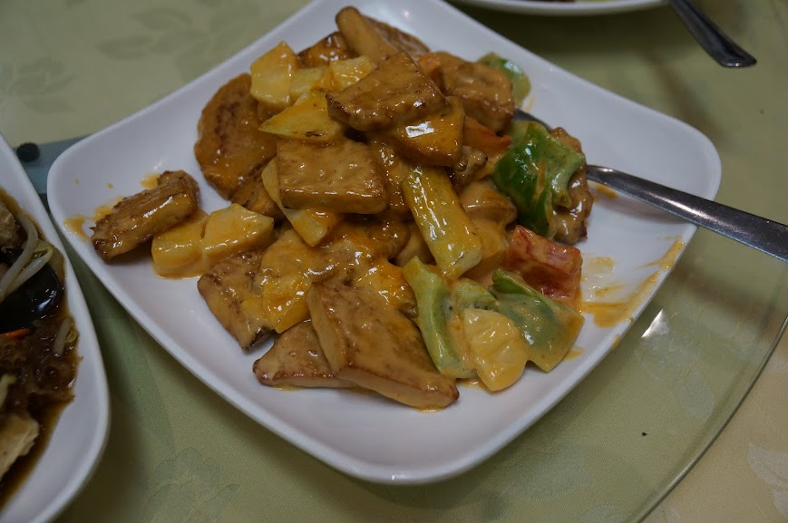 Tofu and vegetables in mustard sauce