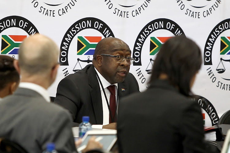 Nhlanhla Nene, the Minister of Finance, testifying at the Zondo commission of inquiry into state capture in Parktown, Johannesburg on October 3 2018.