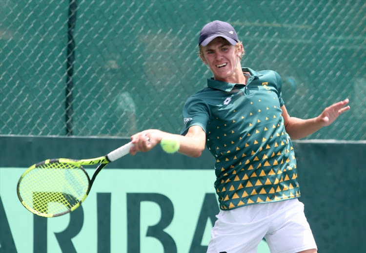 Philip Henning, promising junior and hitting partner of the South African Davis Cup team during the SA and Israel practice session prior to their Davis Cup tie at Irene Country Club on January 31, 2018 in Pretoria.