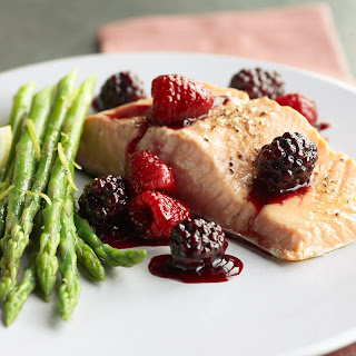 Salmon with Mixed Berry Glaze.