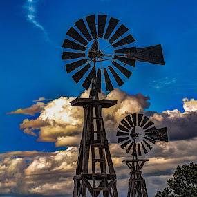 Wind Power  by Jim Moon - Artistic Objects Industrial Objects ( pie town, nature, whisper river photography, jim moon, windmills, wooden windmills, highway 60, windmill, new mexico )