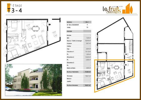 Vente appartement 3 pièces 74,83 m2