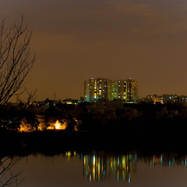Tree with no hopes by Kalyan Durairaj - Novices Only Landscapes ( building, barren tree, night photography, lake, night shot )