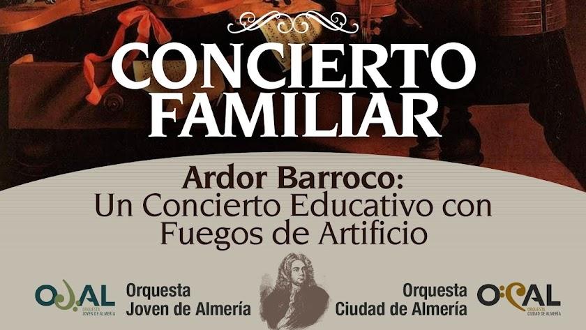 Cartel del Concierto Familiar de OJAL y OCAL en el Auditorio Maestro Padilla.