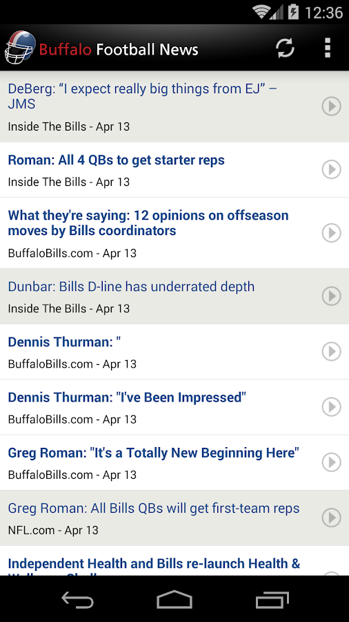 Buffalo Football News- screenshot