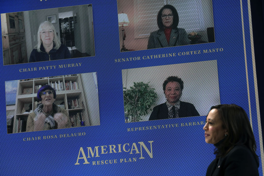 "Vice President Kamala Harris listens during a virtual roundtable discussion ""Supporting Women and Families"" at the South Court Auditorium of the Eisenhower Executive Office Building February 18, 2021 in Washington, DC"