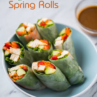 Chicken Spring Rolls with Peanut Dip.