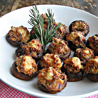 Sausage & Asiago Stuffed Mushrooms with Balsamic Glaze