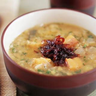 Chunky Potato Soup with Vinegared Onion.