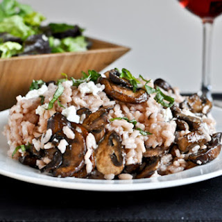 Red Wine + Goat Cheese Risotto with Caramelized Mushrooms.