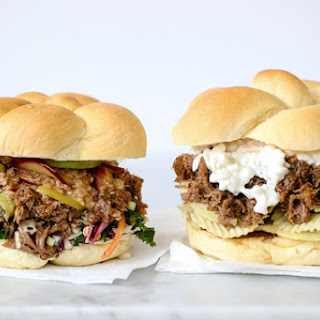 Korean Pulled Pork Sandwiches with Caramel Apple Crumble.