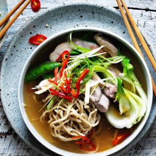 Kylie Kwong's chicken, chilli and Hokkien noodle soup.