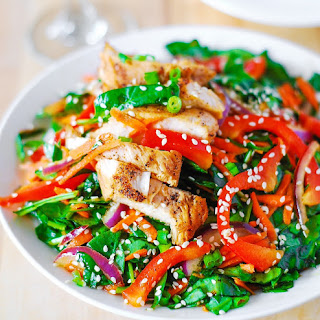 Asian Chicken Salad With Ginger Sesame Dressing.