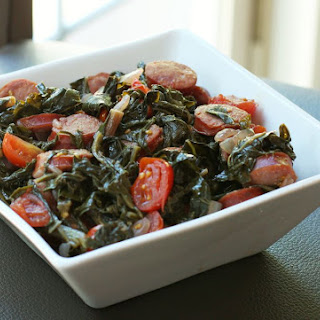 Spicy Kale and Mustard Greens with Cajun Sausage Recipe