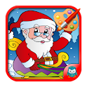 Colorful christmas Santa Claus icon