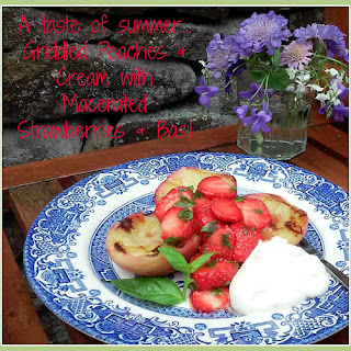 Griddled Peaches with Macerated Strawberries, Basil & Cream Recipe