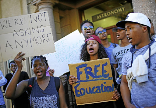 University of Cape Town students demand free tertiary education at a protest in October. Picture: REUTERS