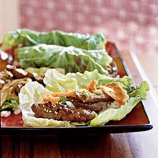 Korean Sesame Beef with Lettuce Wraps.