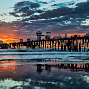 Sunset at Oceanside Pier by Alan Crosthwaite - Landscapes Beaches ( oceanside, southern california, backgrounds, oceanside pier, tourism, travel, coastal, destination, nature, sunset, cloudy, pier, weather, landscape, beach )
