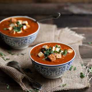 Curried Tomato and Brown Rice Soup with Fried Paneer.