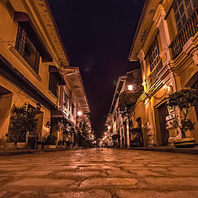 Old Spanish Houses at Night in Vigan, Ilocos by Kevin Codamon - City,  Street & Park  Historic Districts ( vigan, ilocos, spanish, filipino, philippines, roads, historic )