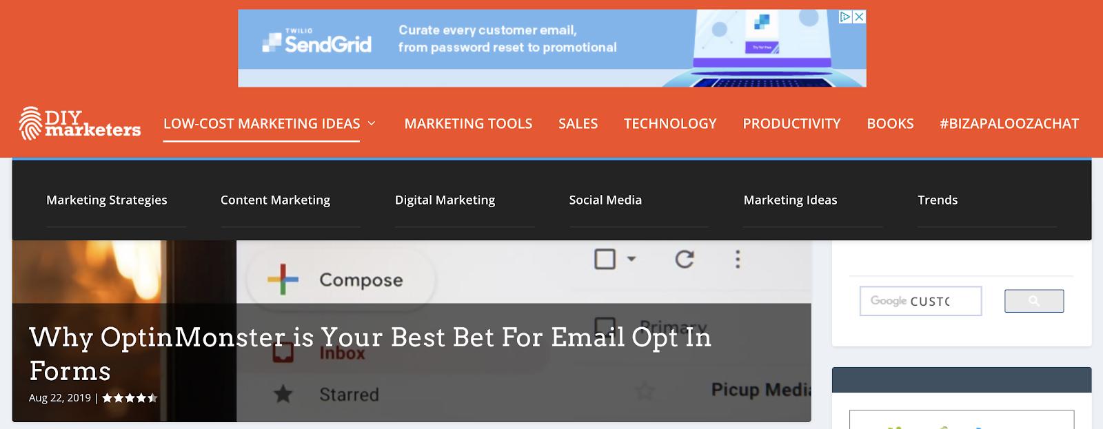 Website navigation screenshot from DIY Marketers.