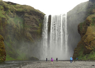 Photo: The two hundred foot Skogafoss waterfall on the Skoga River is almost fifty feet wide.