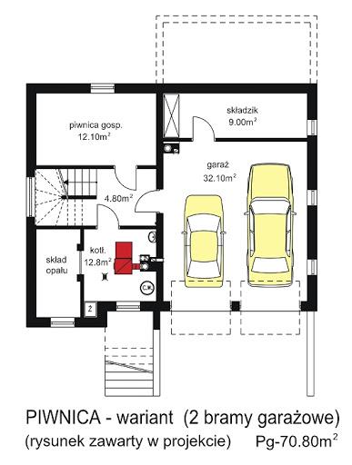 BW-18 podpiwniczony - Rzut piwnicy - propozycja adaptacji - 2 bramy garażowe