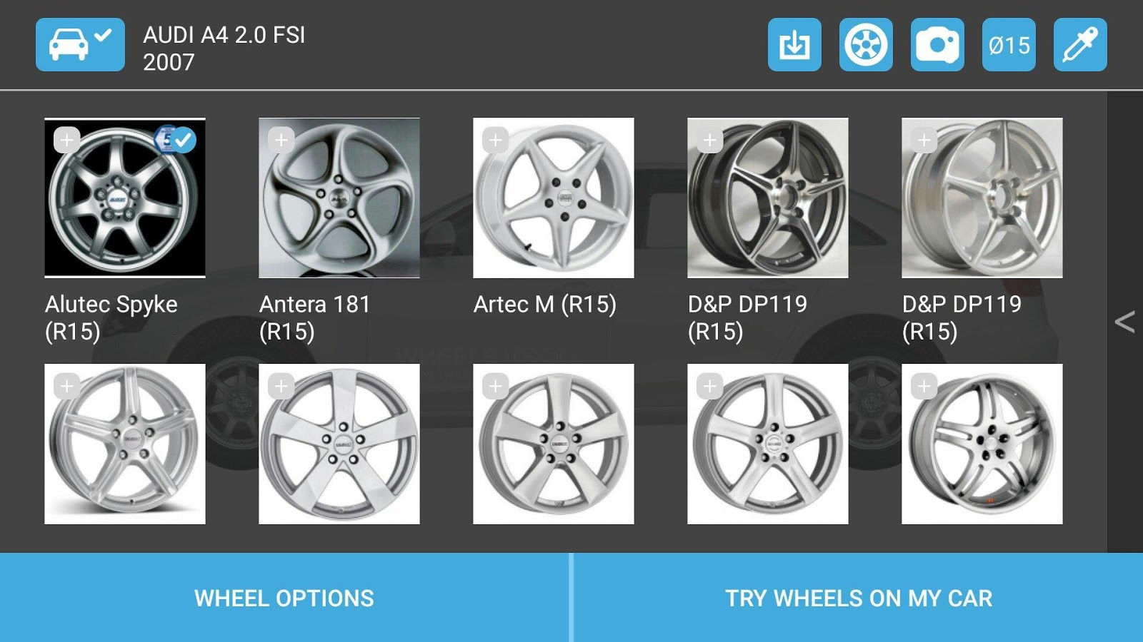Wheel visualizer application car tuning - Wheel Visualizer Wheelsvision Screenshot