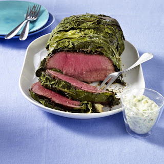 Roast Beef Wrapped in Chard.
