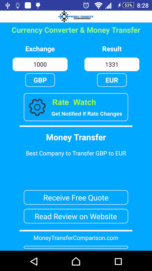 Currency Exchange and Transfer- screenshot